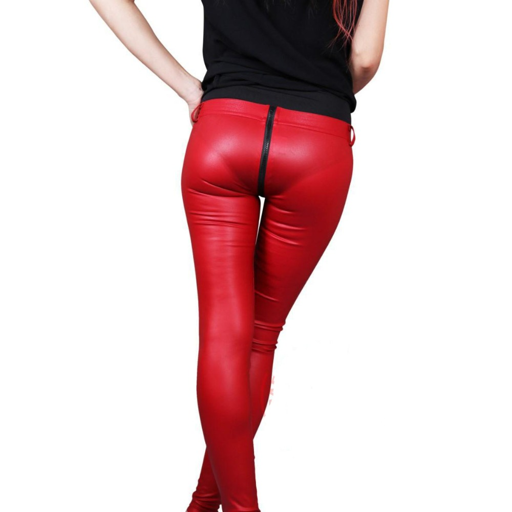 Modern Fashion Solid Zipper Open U Crotch Faux Leather Legging Women Latex PU Individual Pencil Pant Low Waist Sexy Capris Pants