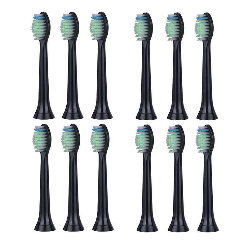 12PCs/3 Packs Black Toothbrush Heads Replacement For Philips Sonicare FlexCare Diamond Clean HX6064 HX6930 HX9340 HX6950 HX6710 16pcs best sonic electric toothbrush replacement for philips sonicare brush heads hx6064 diamond clean soft bristles black new