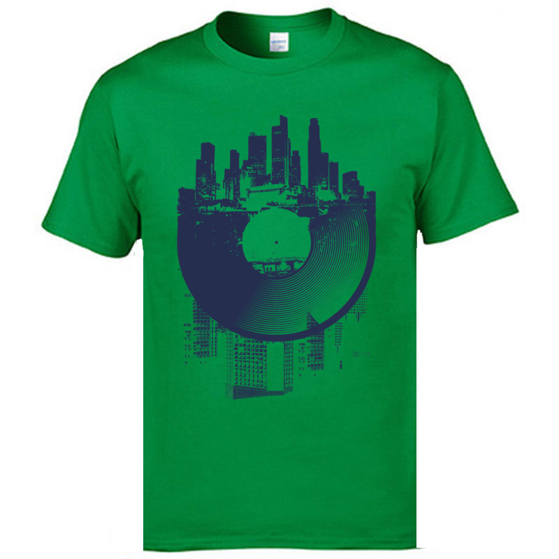 Classic Street T Shirts London Urban Vinyl Records Architectural Style Print Mens T Shirts Hip Hop Jazz Music Country Tshirts in T Shirts from Men 39 s Clothing