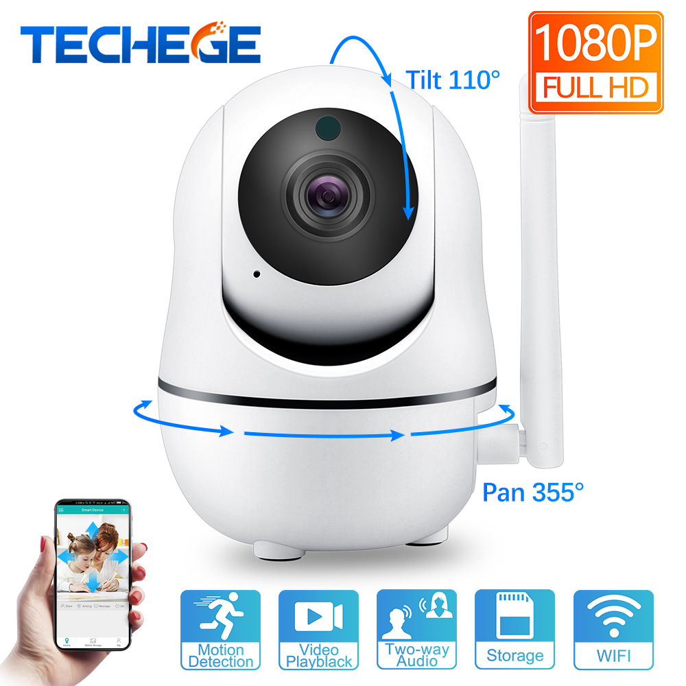 Techege 1080P 720P Wireless Camera IP Smart Home Security WiFi IP Camera WiFi Pan Tilt Two Way Talk Night Vision CCTV Camera