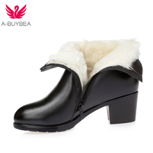 Women's Boots Shoes new winter thick wool fur lined genuine leather woman boots large warm ladies ankle booties black mid heels classic suede snow boots women warm thick fur lined winter shoes black high quality zipper low heels ladies mid calf boots