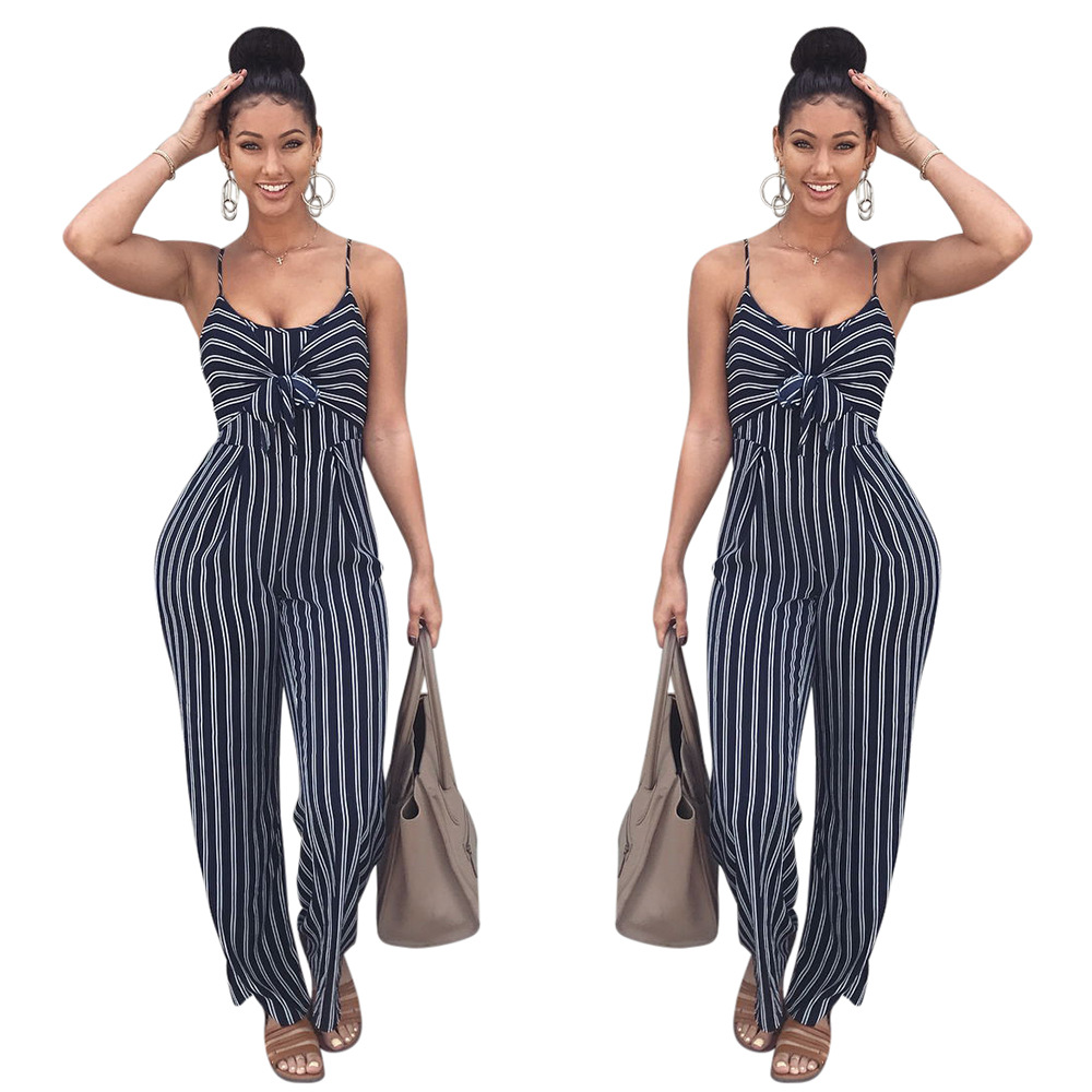 Sexy Playsuits 2018 Sling Summer Rompers Womens Jumpsuits Black Striped Print Overalls Women Bow Jumpsuit K8326