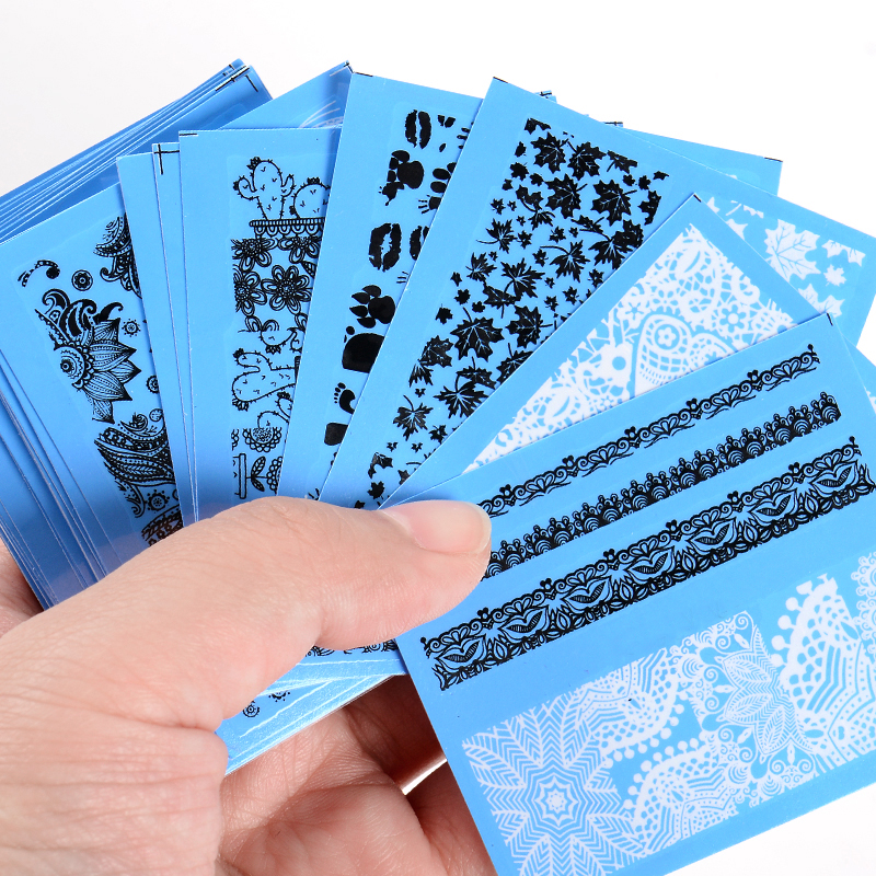 T-TIAO CLUB 48pcs/lot Nail Sticker White Black Water Decal Sexy Lace Flower Art Decorations DIY 3D Tips