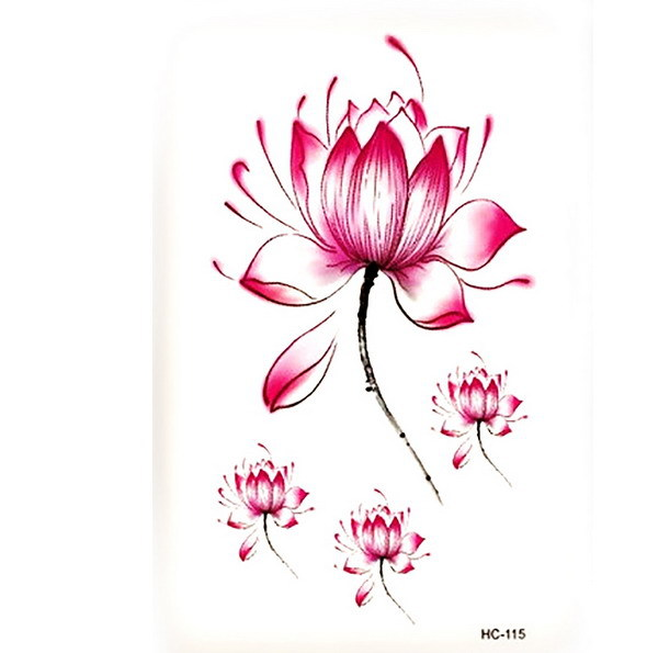 3 Pcs Warna Warni Hc115 Bunga Teratai Tato Pola Taty Desain Baru
