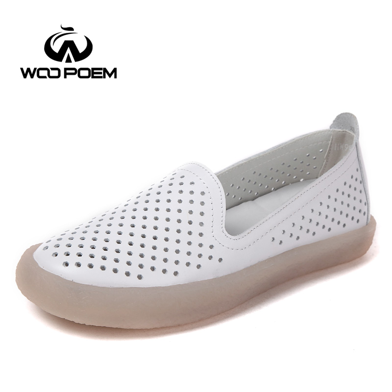 WooPoem Shoes Woman Genuine Leather Loafers Shoes Low Heel Flats Soft Sole Shoes Breathable Hollow White Women Shoes 9115-3 woopoem brand 2017 new autumn shoes woman breathable genuine leather flats low heel soft sole fretwork casual women shoes 7761