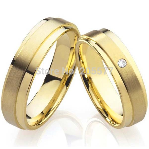 promise couple rings wedding bands sets gold color titanium steel
