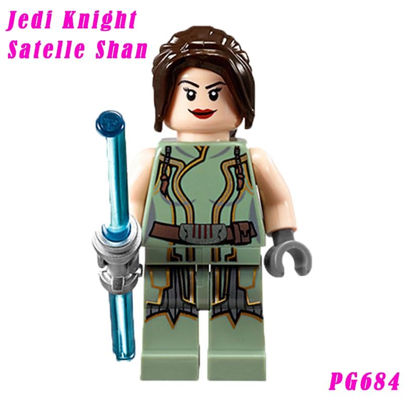 2017 Star Wars Jedi Knight Satelle Shan With Light Saber Super Heroes Model Building Blocks Gift For Children Hobbies 684