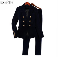 LXMSTH Velvet Set Women Double Breasted Blazer 2 Piece Pants Suits 2018 Spring Autumn Fashion OL