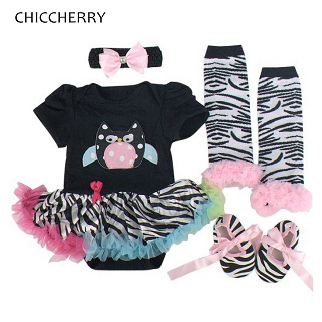 Coruja Animais Do Bebê Roupas de Menina recém-nascidos Zebra Print Lace Tutus Headband & Conjunto Bodysuit Infantil Legwarmers Ropas Bebe Vestido de Festa