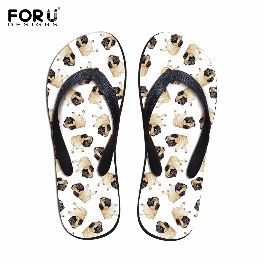 FORUDESIGNS New Fashion Women Slip-on Flip Flops Cute Animal Pug Dog Summer Slippers for Ladies Flat Female 3D Husky Beach Shoes