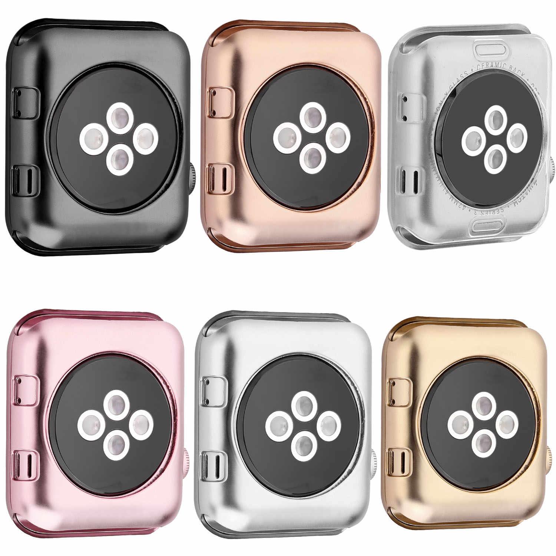 חדש 6 צבעים זהב ציפוי רך סיליקון מקרה עבור אפל שעון סדרת 1 2 3 כיסוי מלא גוף הגנת שעון כיסוי 42mm 38mm