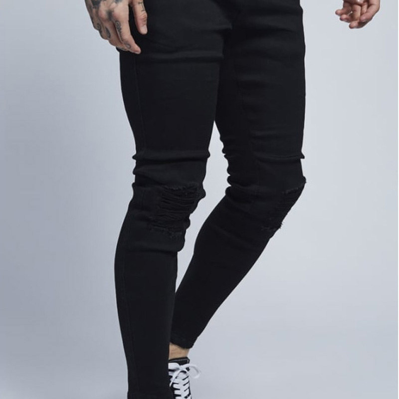 d616d38c4da Hip Hop Skinny Ripped Jeans Men 2018 Brand Knee Holes Design Destroyed Jeans  Homme Casual Wash Cotton Slim Fit Tight Jeans Pants