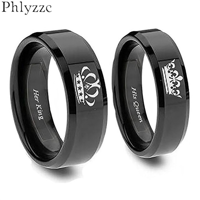 4mm/6mm Simple Black Ring For Women Men Stainless Steel