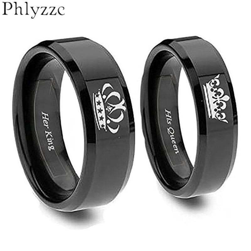 4mm6mm Simple Black Ring For Women Men Stainless Steel