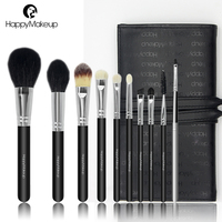 HappyMakeup 10 PCS Makeup Brush Set Quality Goat Hair Brushes Makeup Tools With Black PU Bag