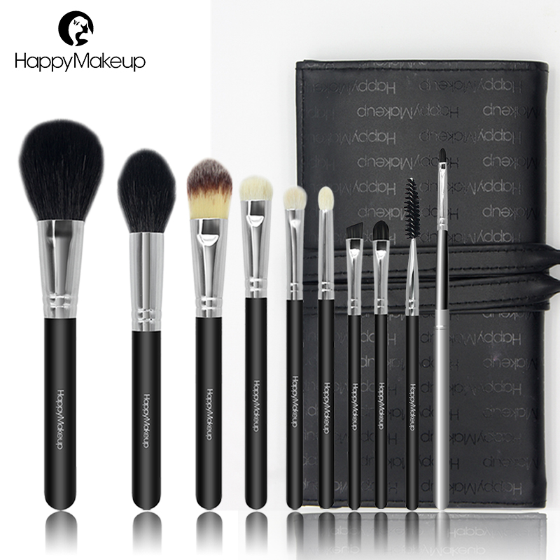 Happy Makeup Brushes set Natural Goat Hair 10pcs Face Powder Foundation Eye Shadow Make Up brush Kit Cosmetic With PU Case Bag h01 professional makeup brushes squirrel hair sokouhou goat hair powder brush walnut wood handle cosmetic tools make up brush