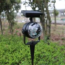 Солнечная проекционная лампа RGB Вращающийся хрустальный магический шар Рождественский диско сценический светильник наружный лужайка пейз...