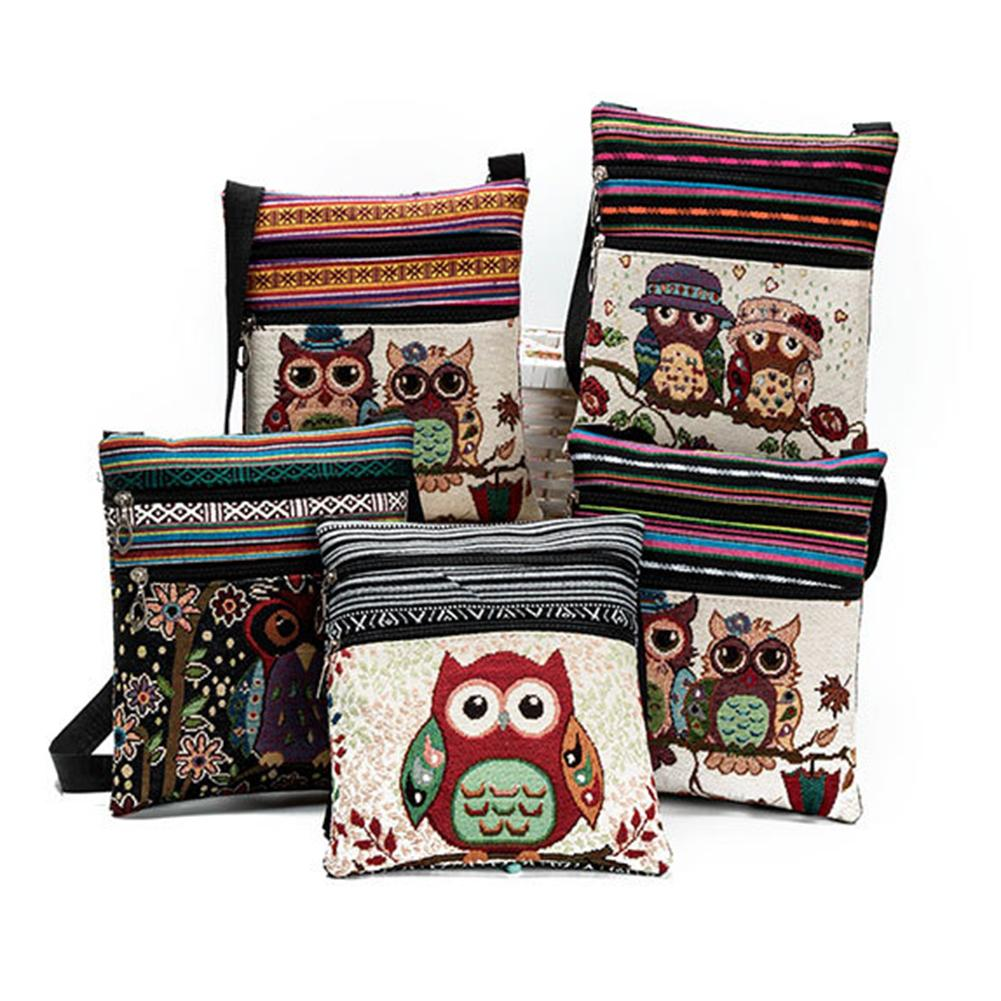 Colorful Linen Cartoon Owl Embroidery Shoulder Bag Zipper Women's Crossbody Pouch