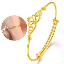 1Pcs Fashion Copper Bracelet For Women Man Cartoon Crowm Gold Color Pulseira Feminina Lover's Engagement Jewelry