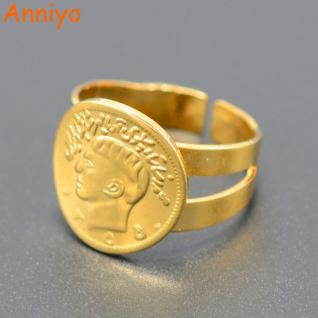 Anniyo Freies Größe Münze Ring Für Frauen Gold Farbe Schmuck Münzen