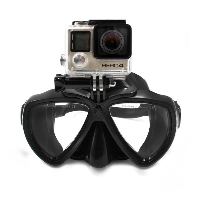 Half Face Mask Goggles Underwater Diving Scuba Snorkel With Mount For GoPro Hero 5 4 3