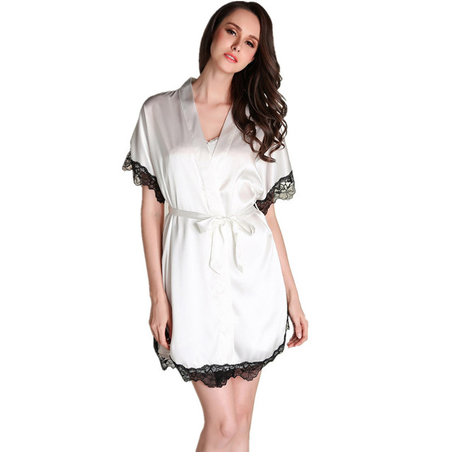 2016 New Arrival Sexy Women's Nightwear Robe Set Nightgown Bathrobes Two-piece Female Spring Faux Silk V-neck Pajamas