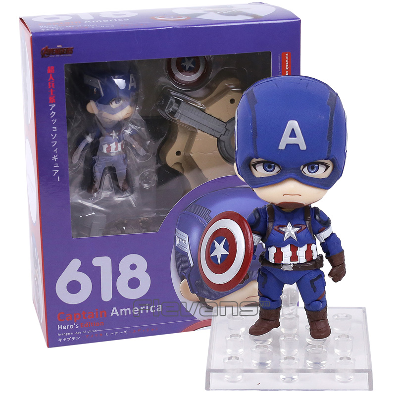 Nendoroid Captain America Hero's Edition Avengers Age of Ultron # 618 PVC Action Figure Collectible Model Toy avengers age of ultron captain america pvc action figure collectible model toy 9 23cm