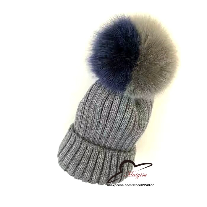 New Autumn Winter women cap real fox fur ball hat Pom poms woollen cap knitted cotton beanies cap brand new thick female high quality real fur ball pompom winter hat for women wool hat knitted cotton beanies cap brand new thick female hat