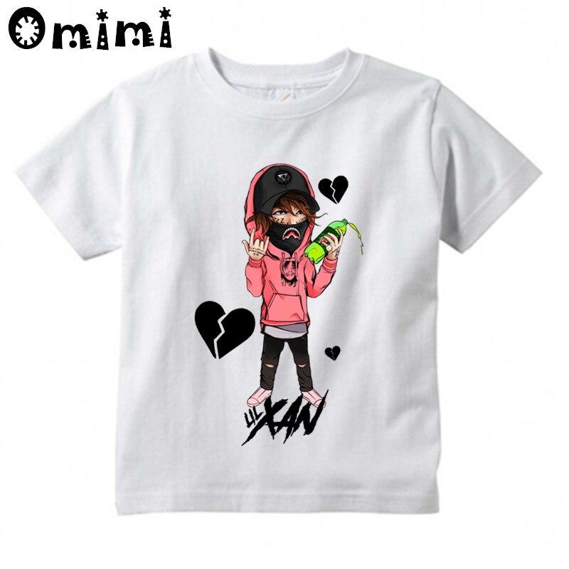Los niños Hip Hop rey Lil Xan diseño camiseta niños/chicas gran Kawaii Tops de manga corta de los niños es gracioso rapero camiseta ooo6040