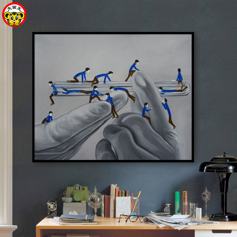Diy Digital Oil Painting Little Blue Man Nordic Illustrator Simple Hand-painted hand-filled painted oil paint decorative paintin