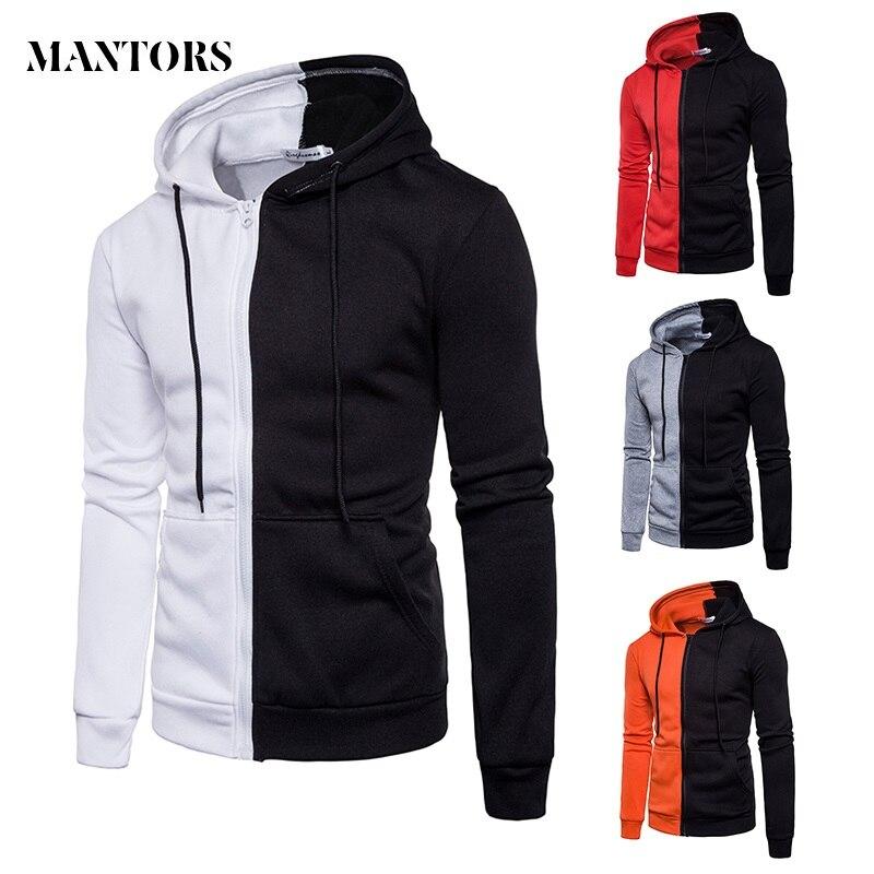 Casual Hoodies Men 2019 Fashion New Patchwork Hooded Sweatshirt Male Slim Sportswear Tracksuit Men Zipper Coat Moletom Masculino