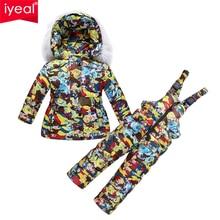 Iyeal 2017 russie hiver enfants vêtements fille vêtements ensembles épais manteaux chauds pour bébé enfants de parka vestes salopette neige porter