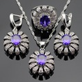 Purple Created Amethyst White CZ Silver Color Jewelry Sets For Women Drop Earrings Necklace Pendant Rings Free Gift Box