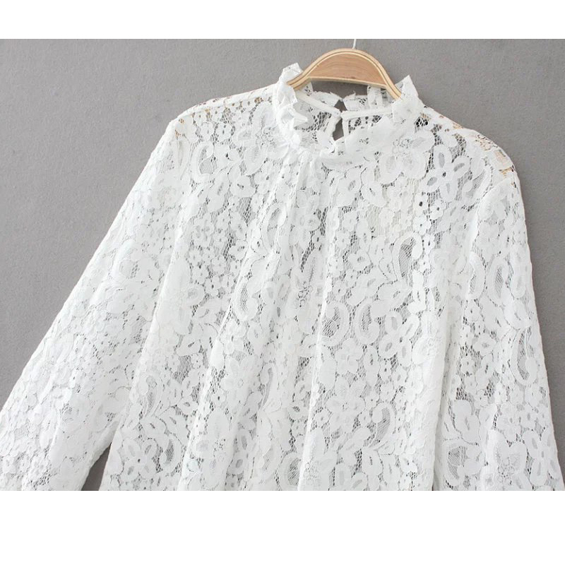 NIBESSER Blouse Women Long Flare Ruffle Sleeve Embroidery Lace Shirts Ladies High Neck Spring Summer Fashion Solid Shirts Tops