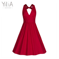 Yilia La La Land Sexy Backless Party Women Dress Solid Color V Neck Halter Bowknot Vestidos