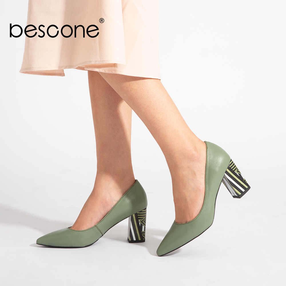 BESCONE Female Shoes Square Heel Pumps-Design Slip-On Pointed-Toe Office Genuine-Leather