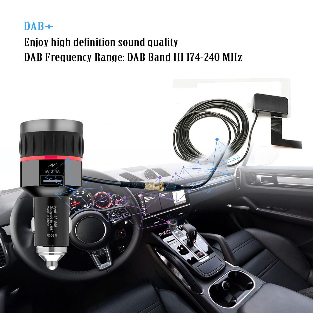 Image 5 - Car Digital DAB Receiver Cigarette Lighter Interface Car DAB Receiver OLED Display FM Launcher Car Charger Digital Radio-in GPS Receiver & Antenna from Automobiles & Motorcycles