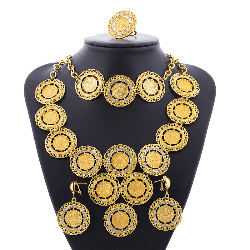 Ethlyn Turkey Coin Necklace/Earring/Ring/Bracelet Jewelry Sets For Women Gold Color Coins Bridal Wedding Party Gifts S181