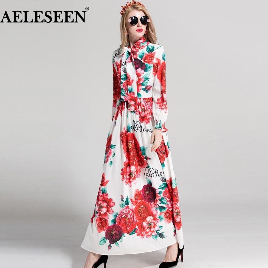 AELESEEN Designer Women Long Dresses 2018 Full Sleeve Flowers Print Bow Collar Elegant Runway Ankle Length