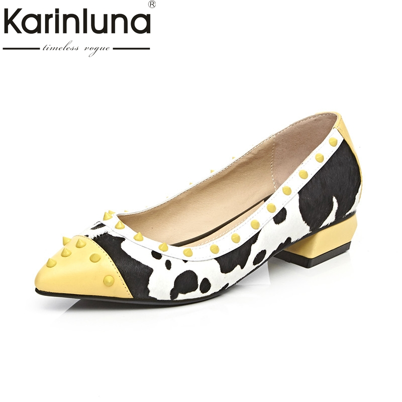 Karinluna 2018 Spring Autumn Fashion Sweet Genuine Leather Mixed Color Med Heels Pumps Pointed Toe Shallow Rivet Shoes Woman free shipping 2016 spring autumn pointed toe rhinestone med heels woman shoes big size40 21 42 43 nubuck leather pumps shoes