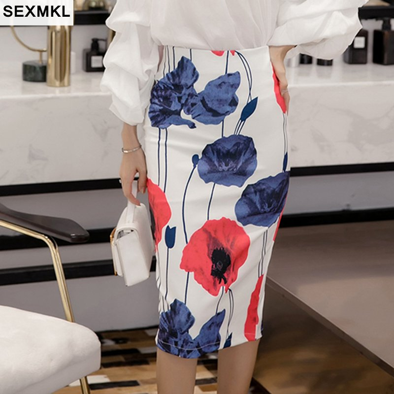 SEXMKLS-5XL Women Skirts Plus Size 2018 Summer Sexy Casual Knee Length High Waist Floral Printed Skirt Office Lady Long Skirts