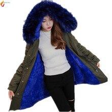 Зима одежда из хлопка пальто 2017 новый высококачественный большой размер женщин сгущать куртка с капюшоном меховой воротник моды хлопка куртка G230