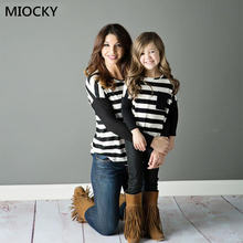 mommy and me clothes Autumn Patch Striped Top Winter Clothes Long Sleeve family tshirt mom daughter matching E0240