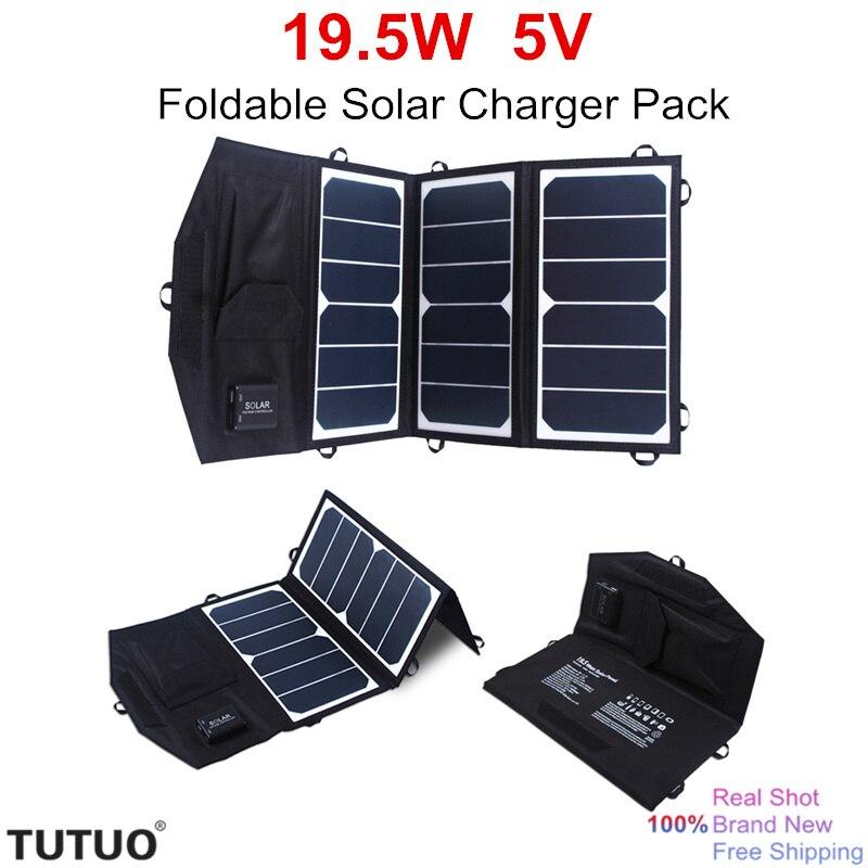 TUTUO 19.5 W 5 V Panel Solar Plegable Paquete de Banco de la Energía Solar 2 USB