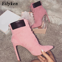 Eilyken 2018 New Women Boots High Heels Pointed Toe Cross Tied Boots Woman Shoes Autumn Fashion Princess Bootas Big size 42