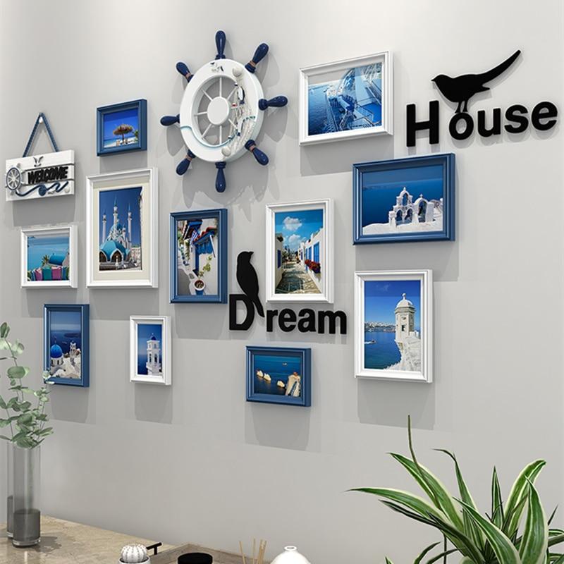 Gran corazón azul blanco pared colgante marco de foto contenedor 1 Set marcos de fotos pared para decoración de pared de madera foto marcos-in Montura from Hogar y Mascotas    1