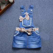 New Arrival 2016 Brand Baby Girls Denim Suspender Dress Girls Denim Mini Sundress Floral Print Belt Kids All-match Denim Dress