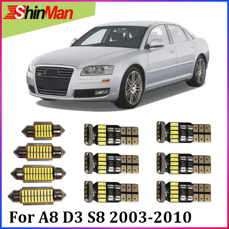 ShinMan 22pcs <font><b>LED</b></font> CAR Light Car <font><b>LED</b></font> Interior Car lighting For <font><b>Audi</b></font> <font><b>A8</b></font> <font><b>D3</b></font> S8 Quattro <font><b>LED</b></font> Interior Light kit 2003-2010 <font><b>LED</b></font> light image