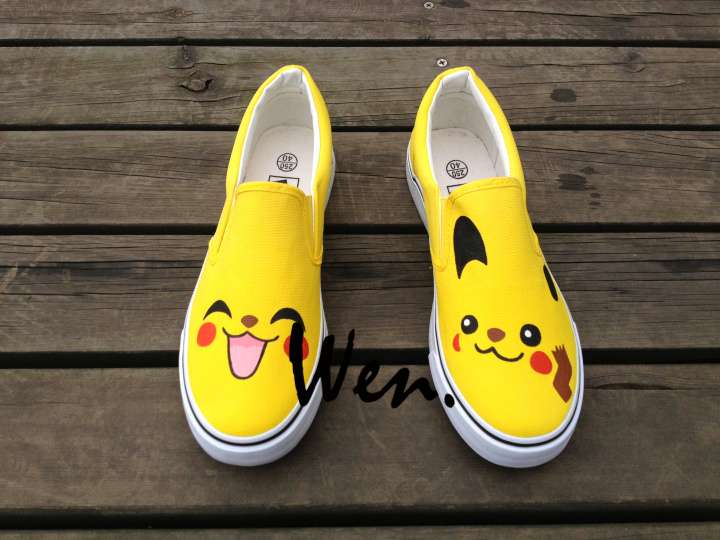 low priced 5cc58 1cc8c Wen Unisex Anime Hand Painted Shoes Design Custom Pokemon Pikachu Slip On Canvas  Sneakers for Birthday Christmas Gifts