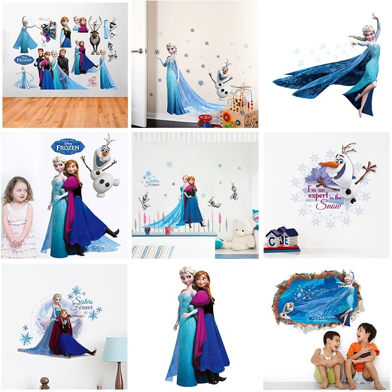 Disney Frozen Princess Wall Decals Bedroom Home Decor Cartoon Elsa Anna Wall Stickers Pvc Mural Art Diy Posters Mural Art